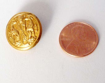 "Vintage Antique Brass Ornate 2 Greyhounds Button, Self Shank 3/4"""