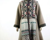Reconstructed Sweater Coat/Bohemian/ Taupe/Burgundy Nordic Pattern /Upcycled / Size L/XL/by BrendaAbdullah