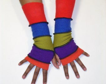 Fingerless Gloves, Armwarmers,Multicolor Patchwork Gloves (Pumpkin/Red Violet/Kiwi/Royal Blue/Red) by BrendaAbdullah