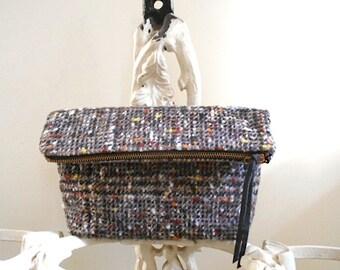 SALE Glen plaid wool clutch, zipper pouch, iPad mini bag, tech case - eco vintage fabrics