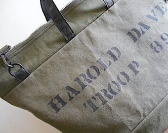 Vtg military canvas carryall weekender, crossbody tote bag - eco vintage fabrics