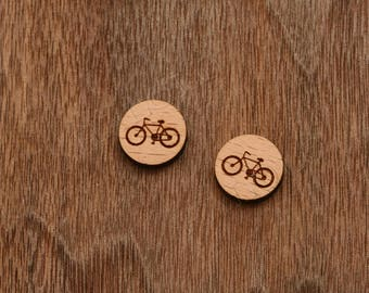 8 pcs Bike Wood Charm, Carved, Engraved, Earring Supplies, Cabochons (WC 078)