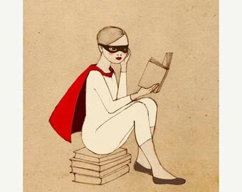 SALE Superhero Reader Girl Mate Edition Print of original drawing