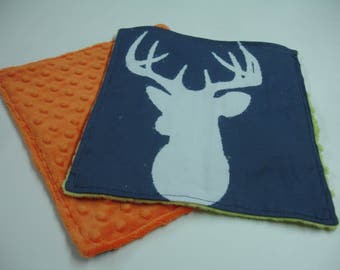 Navy Deer Head with Lime Green and Orange Minky Baby Burp Cloth Set 10 x 11 READY TO SHIP