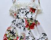 SAMPLE SALE -  Waverly Romper in Forget Me Not - Size 4 ... Cuteness with ruffle trim and a lovely floral print!
