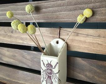 Stoneware Bee Wall Hanging Vase
