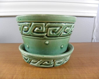 1950s Vintage McCoy Green Greek Key Planter with Saucer 4 inches Hobnail design Nice Condition