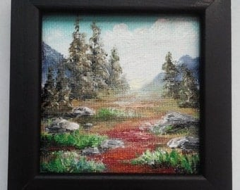 "Mini Oil Painting Mountains Trees 3""x 3"" with Standing Frame Almost READY to SHIP"