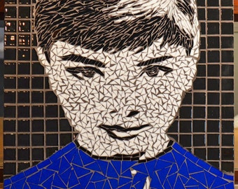 Audrey Hepburn Stained Glass Mosaics and Fused Glass Mosaic Tile Wall Art
