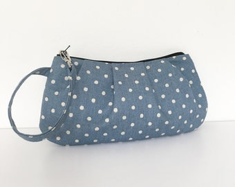 Pleated Wristlet Zipper Pouch // Clutch - Canvas Natural Small Dots in Blue