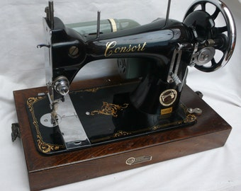 Rare Vintage Consort Sewing Machine with Bullet Bobbin and Hard Wooden Case