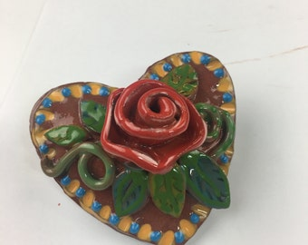 Ceramic Puffy Heart w Rose and leaves