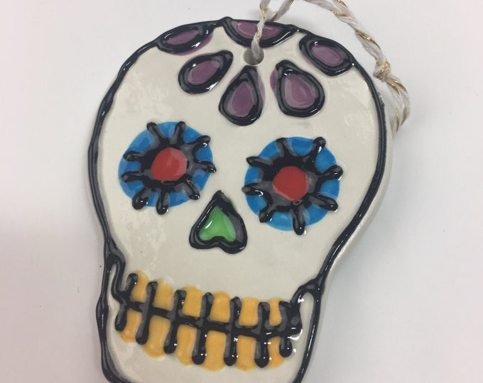 Ceramic Sugar Skull Ornament PURPLE