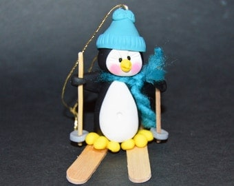 Penguin Skiing Polymer Clay Christmas Ornament