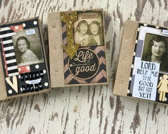 Altered Journal, Primitive Journal, Mini Journal,Friends, Arrow, Smile, for her, vintage photo, Mixed Media, Altered Book, Notebook, Altered
