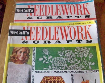 Vintage McCall's NEEDLEWORK & CRAFTS Fall-Winter 1971-1972, Spring-Summer 1972.  Two oversize magazines.