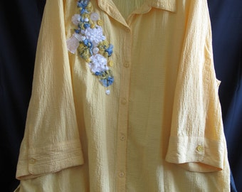 Upcycled Plus Size Altered Couture Yellow Blouse Size 22W/24W Upstyled Roses Repurposed Wearable Art