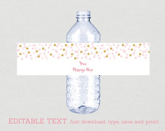 Blush Pink & Gold Water Bottle Labels / Glitter Bridal Shower / Glitter Dots / Glitter Confetti / INSTANT DOWNLOAD Editable PDF B109