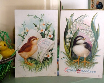 Victorian Easter Postcard Lot Chicks Lily of the Valley Embossed Set of Two with Vintage Cottage Style
