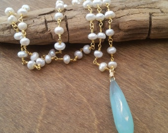 Chalcedony Drop Stone Freshwater Pearl Gold Vermeil Chain Necklace
