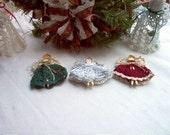 Choir of 3 Mini Angel Ornaments Crochet Thread Art New Handmade