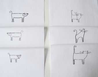 Craft Designs pack 6 different Cat and Dog designs - hand printed onto white cotton for embroidery, patchwork quilting, dress making