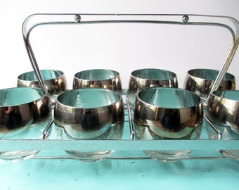Vintage Silver Roly Poly Bar Glasses Set of Eight with Caddy - Retro Dorothy Thorpe Style