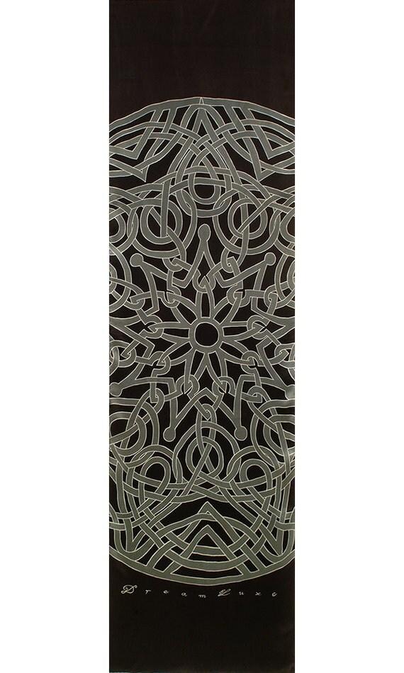 Handpainted silk scarf, Mandala Scarf, Hand made scarf, gray scarf, Unique Scarf, silk mens scarf, Black scarf, Neck scarf, Sacred scarf