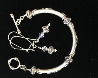 Sterling silver bangle bracelet and earring set