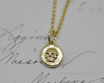 14k gold skull necklace - gold skull pendant - tiny skull wax seal necklace - gold wax seal jewelry - minimalist necklace