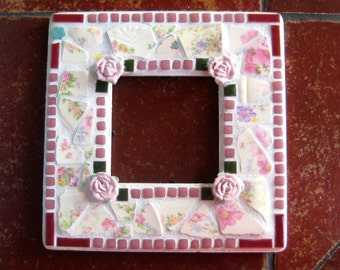 Mirror. Mosaic Mirror. Vintage plate pieces Mirror. Hand Cut and Tumbled Vintage China. Pink Porcelain Roses. Recycled pink glass tiles.