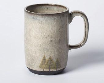 Tall Grey Pine Trees Mug