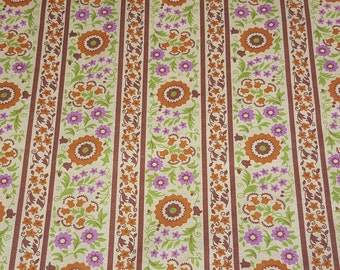 vintage 50s cotton fabric, featuring stripe and floral design, 1 yard, 4 available priced PER YARD