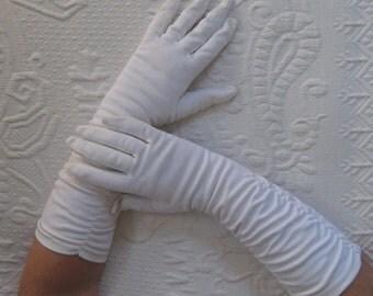 long white gloves . wedding gloves . long evening gloves . long ruched gloves