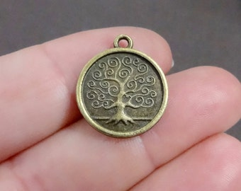 "10, Tree of Life ""Family Tree"" Bronze Charms (double sided) 17x19x2mm, Hole: Approx. 1.5mm"