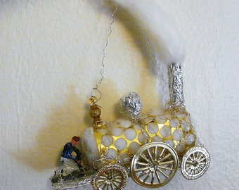 Train Engine Christmas Ornament Railroad German Sebnitz