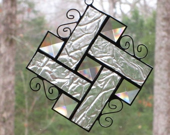 Stained Glass Suncatcher - Bevels with Clear Crackle Glass Border and Curly Cue Wire