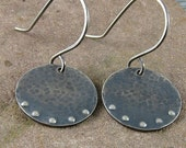 Sterling Silver Earrings Hammered,Oxidized and Dimpled,Available in 4 Sizes