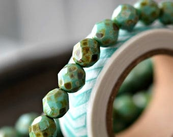 Green Moss - Premium Czech Glass Beads, Opaque Turquoise, Speckled Picasso Finish, Facet Firepolish Rounds 8mm - Pc 10