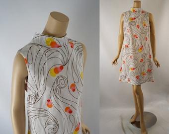 Vintage 1960s Dress Sleeveless Colorful Shift Style by Liberty Circle B38