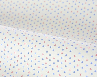 4400 - Mini Sailing Boat & Anchor Cotton Lycra Jersey Knit Fabric - 62 Inch (Width) x 1/2 Yard (Length)