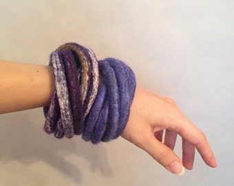 Blue Felted Bracelet / Felted Bangles / Modern Cuff / Yoga / OOAK / Twisted Felt Collection - Made to Order