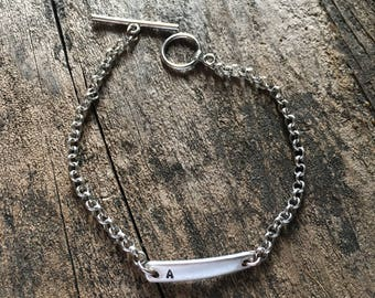 Tiny Forktine Initial Bracelet