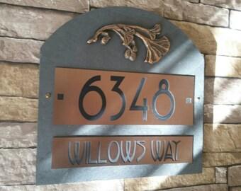 Craftsman Gingko Leaf  Home Address Plaque House Numbers