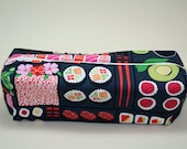 Boxy Makeup Bag - Bento Box Print Zipper - Pencil Pouch - Sushi Michael Miller Roll With Me
