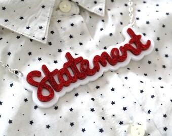 Statement Necklace, Laser Cut Acrylic Necklace, Glitter Acrylic, Handmade, Brighton, uk