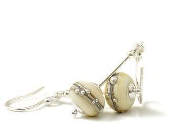 Cream Glass Earrings | Silvered Ivory Lampwork Earrings | Lampwork Glass Earrings with Sterling Silver | UK