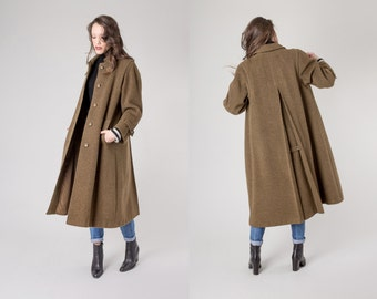 TRENCH coat WOOL jacket vintage swing women Green brown minimal modern Winter Fall long / Medium / better Stay together