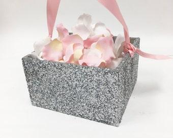 Flower Girl Basket + Silver Glitter Flower Girl Basket with Ribbon Handle