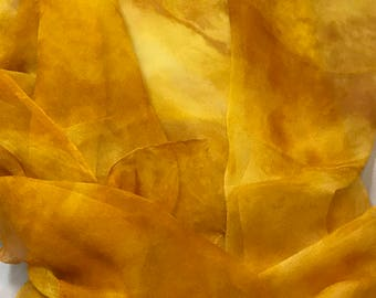 Silk Gauze Chiffon - Hand Dyed Honey Mustard Yellow - 1 Yard